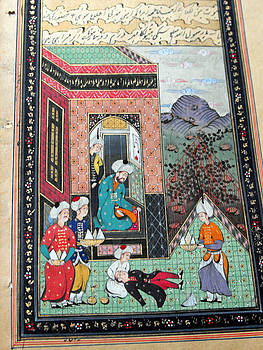 Indo-Persian miniature painting on antique manuscript paper featuring a scene from imperial court by Anonymous Indo-Persian artist