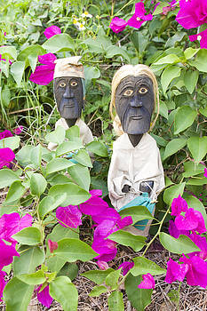 Indonesian Figures in Bougainvillea by William Patrick
