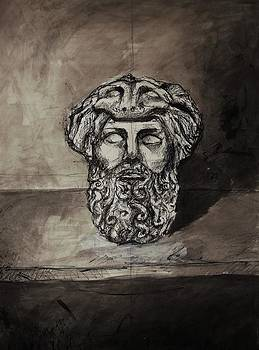 Ink painting  of Hercules by Annamaria Shkurti