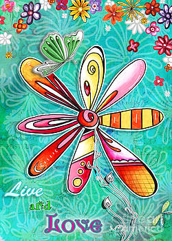 Inspirational Floral Art Quote Butterfly Painting Live with Love Quote by Megan Duncanson by Megan Duncanson
