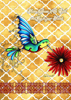 Inspirational Hummingbird Art Gold Red Turquoise Pattern Quote by Megan Duncanson by Megan Duncanson
