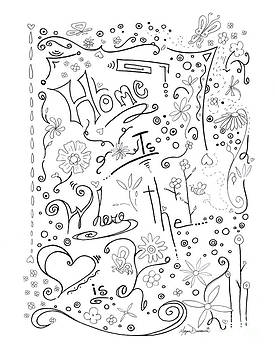 Inspirational Quote Black and White Typography Art Home is Where the Heart Is by Megan Duncanson by Megan Duncanson