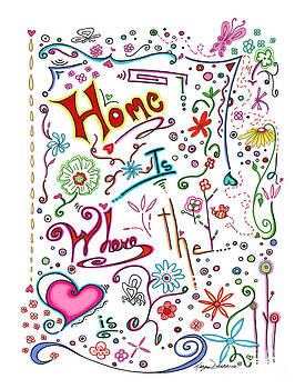 Inspirational Quote Colorful Whimsical Typography Art Home is Where the Heart Is by Megan Duncanson by Megan Duncanson