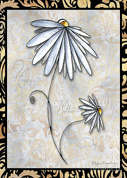 Inspirational Uplifting Daisy Art Damask Pattern Happy Mothers Day by Megan Duncanson by Megan Duncanson