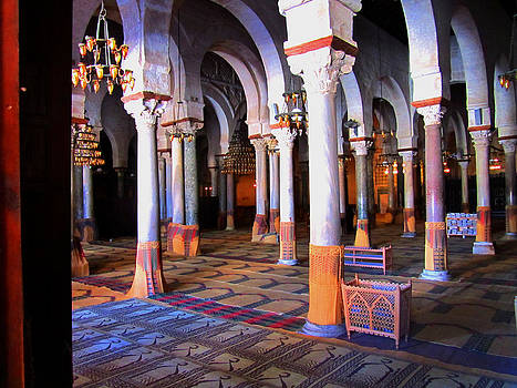 Interior Grand Mosque Kairouan by Louise Grant