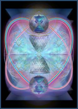 Intwined Hearts Chalice Shimmering Turquoise Vortexes by Christopher Pringer