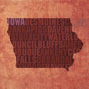 Design Turnpike - Iowa Word Art State Map on Canvas