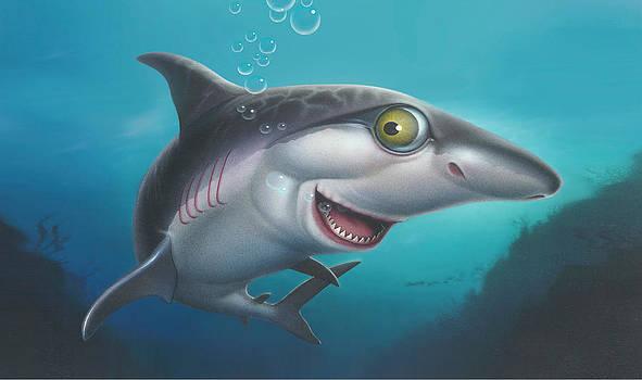 iPhone - Galaxy Case - friendly Shark Cartoony cartoon under sea  by Walt Curlee