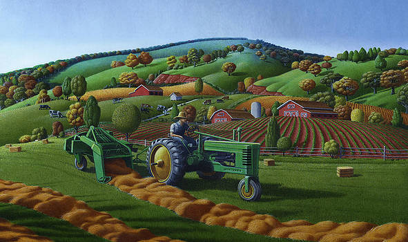 Iphone Case - John Deere Tractor Baling Hay Folk Art Landscape - Americana by Walt Curlee