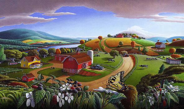 Iphone Case - Blackberry Patch Rual Farm Landscape - Folk Art Americana by Walt Curlee