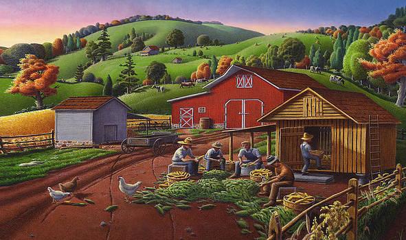 Iphone Case - Farm Folk Art - Shucking Corn and Storing in the Corn Crib - Rural Americana by Walt Curlee