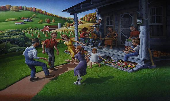 Iphone Case - Porch Music And Appalachian Flatfoot Dancing - Folk Art Farm Landscape - Americana by Walt Curlee
