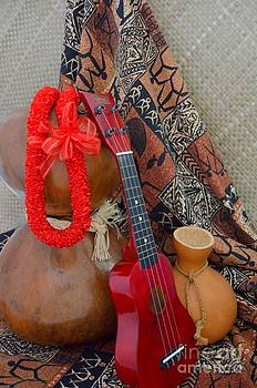 Mary Deal - Ipu Heke and Red Ukulele and Red Satin Lei