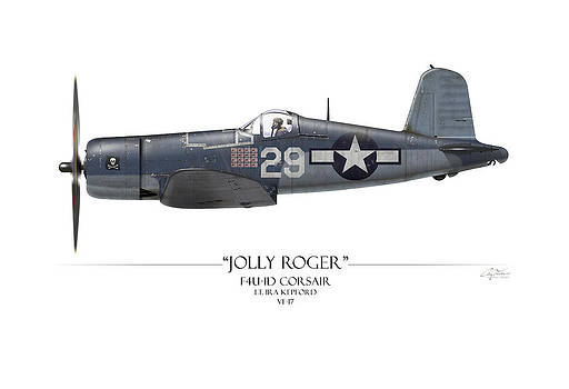 Ira Kepford F4U Corsair - White Background by Craig Tinder
