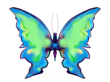 Iridescent Blue and Green Butterfly by Maureen Kealy