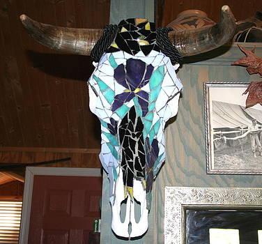 Iris on Steer Skull by Lisa Browning
