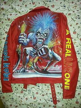 Iron Maiden red leather jacket by Danielle Vergne