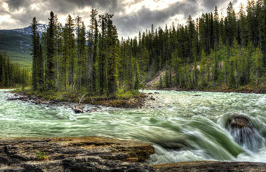 Island in the Stream with Waterfall by Donna Caplinger