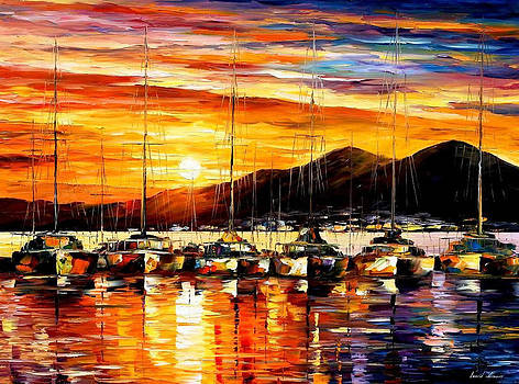Italy - Naples Harbor-Vesuvius - PALETTE KNIFE Oil Painting On Canvas By Leonid Afremov by Leonid Afremov