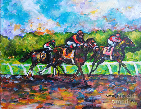 Its a Three Horse Derby Race by Carole Powell