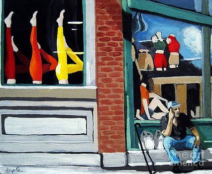 Its All About the Legs - figurative city urban oil painting by Linda Apple