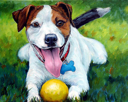 Jack Russell with Yellow Ball by Dottie Dracos