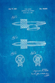 Ian Monk - Jaffe Hood Ornament Patent Art 1951 Blueprint