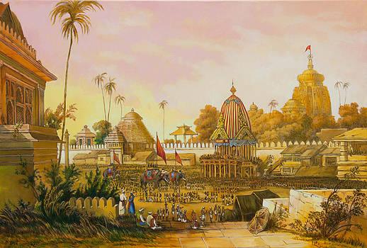Jaganath Puri with Ratha Yatra in progress by Dominique Amendola