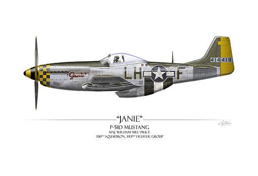 Janie P-51D Mustang - White Background by Craig Tinder