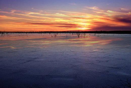 January Sunset at El Dorado Lake by Rod Seel