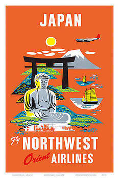 Japan Fly Northwest Orient Airlines by Vintage