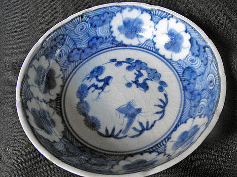 Japanese Aritaware bowl with intricate floral design by Anonymous artist
