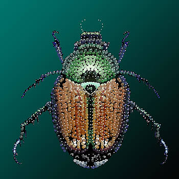 Japanese Beetle Bedazzled II by R  Allen Swezey
