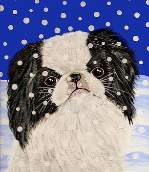 Japanese Chin in Snow by Karen Howell