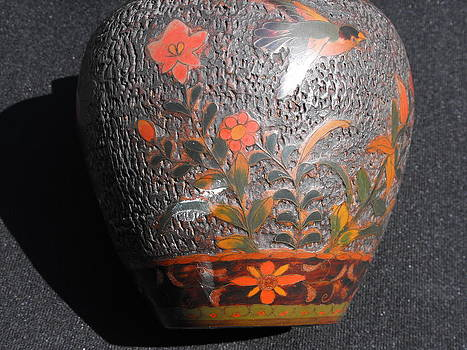 Japanese cloisonne on porcelain Totai vase by Anonymous Japanese artist