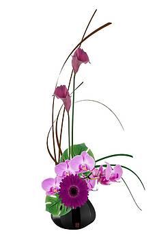 Japanese Floral Arrangement - Ikebana Purple Flowers Calla Lillies Orchids Gerbera Daisy by Willie Chea