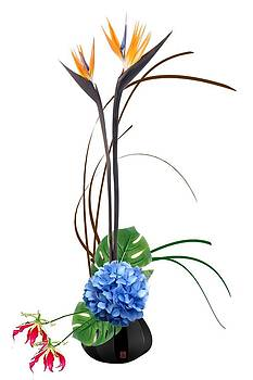 Japanese Floral Arrangement-Ikebana Birds of Paradise  Gloriosa Lilly Hydrangea by Willie Chea