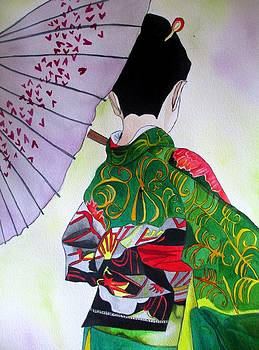 Japanese Geisha with purple umbrella by Sacha Grossel