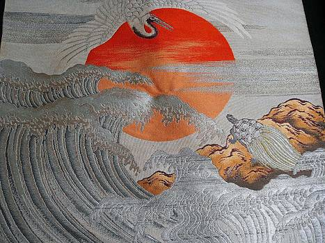 Japanese silk Fukusa tapestry featuring a crane flying over a stormy sea. by Japanese artist
