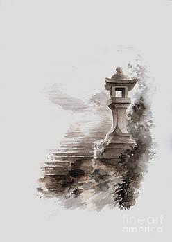 Japanese stone lantern by Mariusz Szmerdt