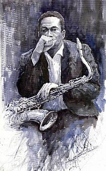 Jazz Saxophonist John Coltrane black by Yuriy  Shevchuk