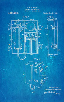 Ian Monk - Jenkins Portable Telephone Patent Art 1920 Blueprint