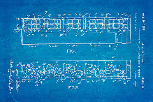 Ian Monk - Jergenson Aircraft Sleeper Cabin Patent Art 1952 Blueprint