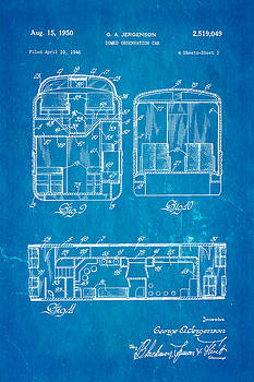 Ian Monk - Jergenson Domed Observation Car Patent Art 1950 Blueprint
