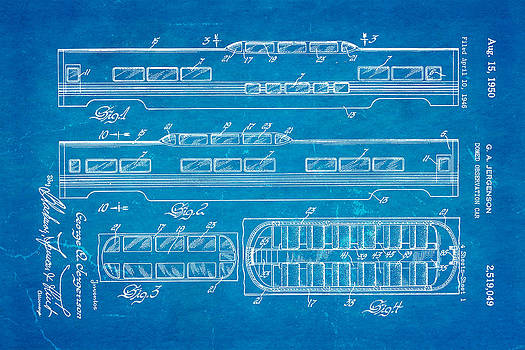 Ian Monk - Jergenson Railway Car Patent Art 1950 Blueprint