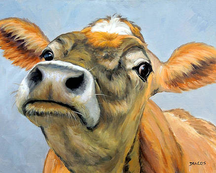 Jersey Cow Curious 2 by Dottie Dracos