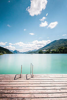 Jetty On A Turquoise Lake In The Austrian Lake District by Leander Nardin