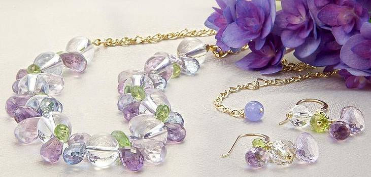 Jeweled Hydrangea Gold-Filled Choker Necklace and Matching Earring Set  by WDM Gallery