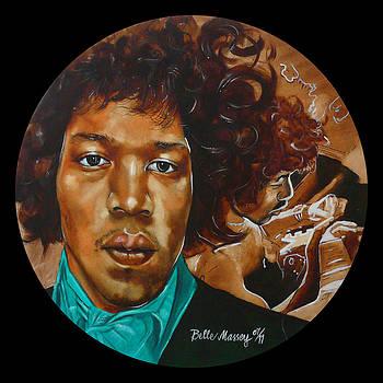 Jimi Hendrix B by Belle Massey