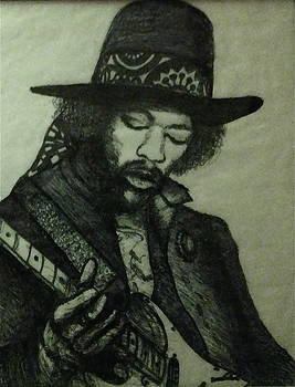 Jimi In Hat by John Schwartz